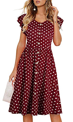Lamilus Women's Summer Casual Ruffle Sleeve V-Neck Button Down A-Line Swing Dress (Small, Red Dot 002)