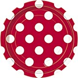 Unique Party 37494 - 18cm Red Polka Dot Party Plates, Pack of 8