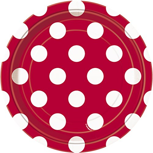 Red Polka Dot Paper Cake Plates, 8ct