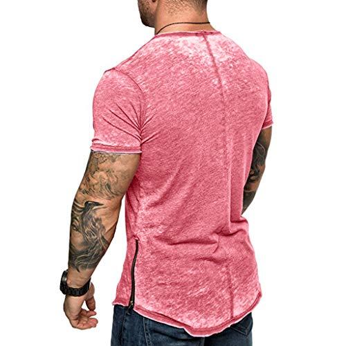 377455214 Hosamtel Men Short Sleeve T-Shirt Solid Zipper Side Slim Fit Fashion Casual  Summer Workout