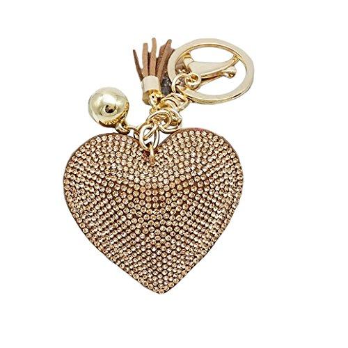 HEART SPEAKER Romantic Dazzling Rhinestone Love Heart Charm Pendant Fringe Keychain Keyring (Khaki)