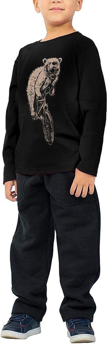 Little Boys Bear On A Mountain Bike ComfortSoft Long Sleeve Shirt