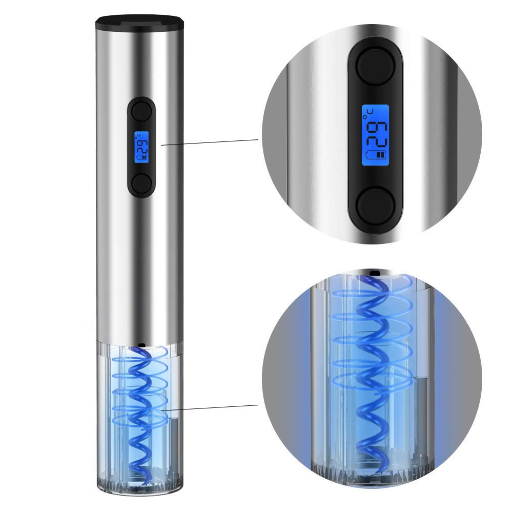 MKYUHP Wine Bottle Opener 5-in-1 Electric Wine Opener Set Corkscrew Bottle Opener Gift Set Automatic Opener Rechargeable with Vacuum Plug+Paper Cutter+Wine Pourer+Holder