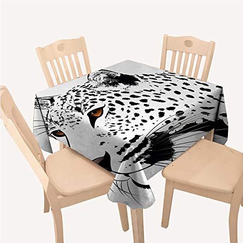 WilliamsDecor Tattoo Dinning Tabletop Decoration Astonishing Big Cat Famous Symbol of The Courage Leopard Head with Spots PrintWhite and Black Square Tablecloth W70 xL70 inch]()
