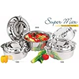 King International Stainless Steel Food Storage Containers, Storage Box,Food Storage Containers, Storage Box,Keep Warm,Cold Upto 4-6 Hours, Full Stainless Steel, (Set of 3 Pieces)