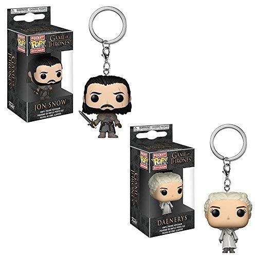 Funko Pocket POP! Keychain Game of Thrones: Jon Snow and Daenerys Targaryen Toy Action Figure - 2 POP BUNDLE