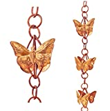 Monarch Pure Copper Cascading Butterflies on Rings Rain Chain, 8-1/2-Feet Length