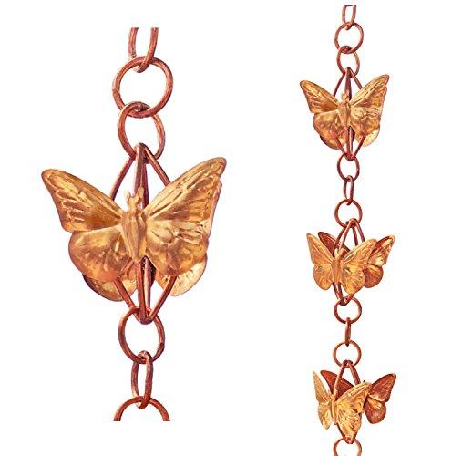 Monarch Pure Copper Cascading Butterflies on Rings Rain Chain, 8-1/2-Feet Length by Monarch Rain Chains