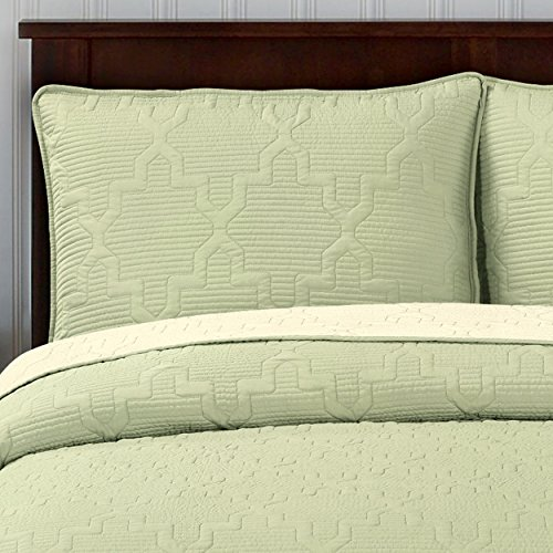 Brielle Casablanca, Reversible Twin Quilt Set, Ivory Sage