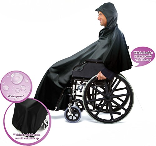Practik Wheelchair Rain Cover with Extra Length at the Front for Greater Coverage. Comes with Pouch for Easy Take Along and Storage. Never Get Stuck in the Rain Again With This Lightweight, Compact, and Durable, Wheelchair Rain Cover.Black, 53.1