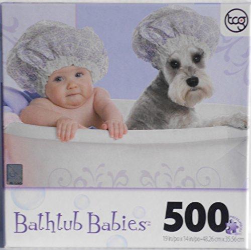 Bathtub Babies 500 Piece Puzzle - Bathcap Baby & Schnauzer 500 Piece Tub