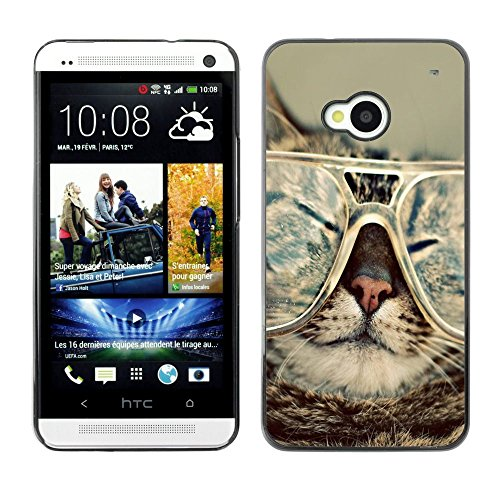 Plastic Shell Protective Case Cover || HTC One M7 || Cat Glasses Slpeeping Funny Portrait Art @XPTECH