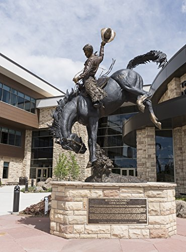 """24 x 36 Giclee print of Chris Navarro's """"Wyoming Cowboy"""" statue at the University of Wyoming in Laramie Wyoming. The school's athletic nickname is """"Cowboys"""" """"Cowgirls"""" in the case of women's teams"""