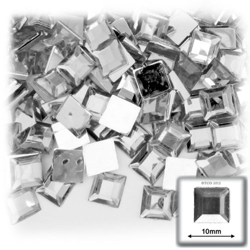 The Crafts Outlet 144-Piece Flat Back Loose Square Rhinestones, 10mm, Crystal Clear ()