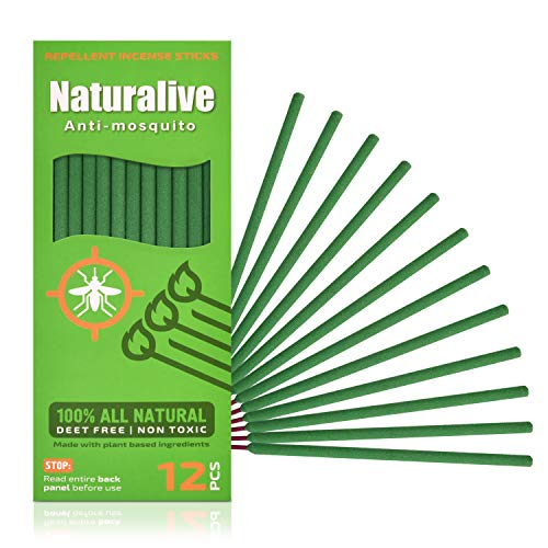 Naturalive Mosquito Repellent Incense Sticks – DEET Free Outdoor Bug Repellent Sticks Made with Natural Plant…