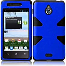 Importer520 (TM) 4IN1 ComboDynamic Hybrid Tuff Premium Rugged Hard Soft Case Skin Cover For Huawei Valiant / Huawei Ascend Plus H881C (Metro PCS, Net 10, Tracfone, Straighttalk) -Blue+Black + Car Charger + Home Travel Charger + Sync USB Data Cable