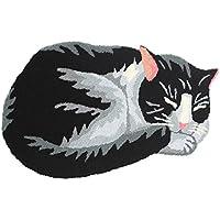 KEPSWET Cute Black Cat Area Rug Cartoon Non-slip Absorbent Bath Mats Child Bedside Small Rugs Handmade Livingroom Bedroom Durable Carpet Door Pad Footmat (26x16, Black)
