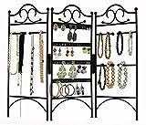 3-Panel Folding Screen Jewelry Hanger, Earrings, Bracelets, Necklaces Organizer, Black by Arad