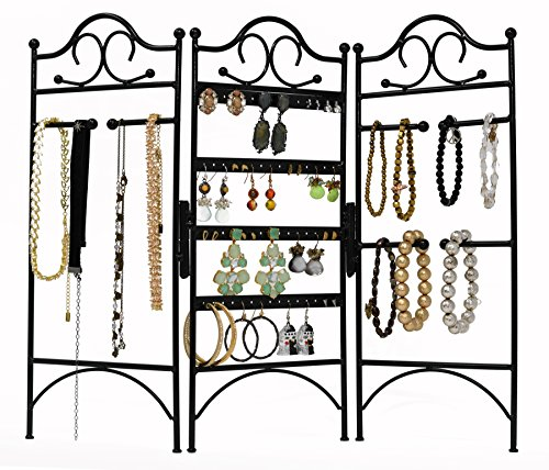 3-Panel Folding Screen Jewelry Hanger, Earrings, Bracelets, Necklaces Organizer, Black by Arad by ARAD