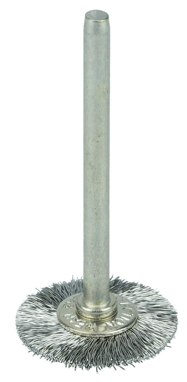1 Diameter Steel Bristles 1//8 Stem Size Miniature Wire Wheel Brush Weiler 0.005 Wire Size Wire Fill