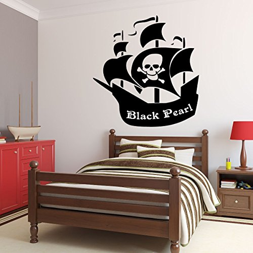 CustomVinylDecor Pirate Ship Wall Decal - Personalized Removable Vinyl Sticker for Boys Room, Playroom, School Classroom, Nursery, Preschool, Home Decor