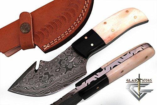 GladiatorsGuild 64B Custom Handmade Damascus Steel Skinner Hunting Knife Fixed Blade Small Skinning Knife with Gut Hook (White Bone)