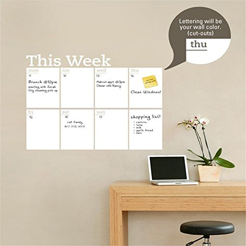 Wall Decal Sticker Mural Vinyl Arts and Sayings Mural Art Chalkboard Weekly Planner Dry Erase Calendar for Office -