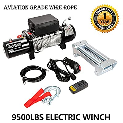 9500lbs 12V Electric Recovery Winch for Truck SUV Jeep Trailer with Wireless Remote Control Kit