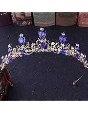 Stylish and Elegant Crown Princess Crown Crystal Big Hoop Crown Performances Birthday Party Senior Royal Treasures Luxury Hair Accessories Headdress Children wsd (Couleur du métal : Blue)
