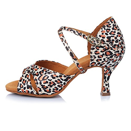 Roymall Womens Satin Latin Dance Shoes Ballroom Salsa Tango Performance Shoes,Model AF406 Leopard