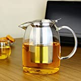 TOYO HOFU High Borosilicate Glass Tea Pot Heat Resistant Large Clear Teapot with #304 Stainless Steel Infuser & Lid,1200ml
