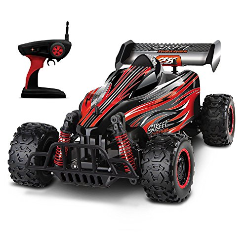 SHARPER IMAGE RC All Terrain Street Thrasher Car, Zoom Up to 12.5 MPH for Off Road Action, Wireless Remote Control, 2.4GHz for Multiple Car Races, Rechargeable, Battery Operated, RED