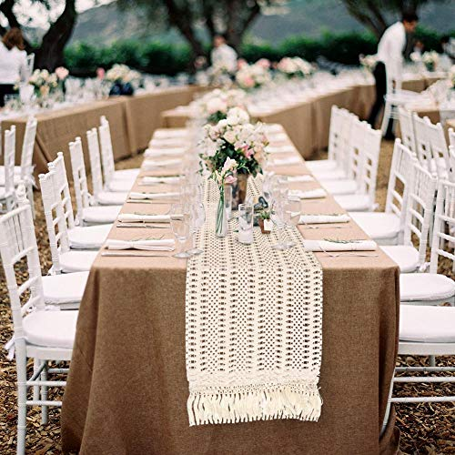 OurWarm Natural Macrame Table Runner Cotton Crochet Lace Boho Wedding Table Runner with Tassels for Bohemian Rustic Wedding Bridal Shower Home Dining Table Decor, 12 x 108 Inch
