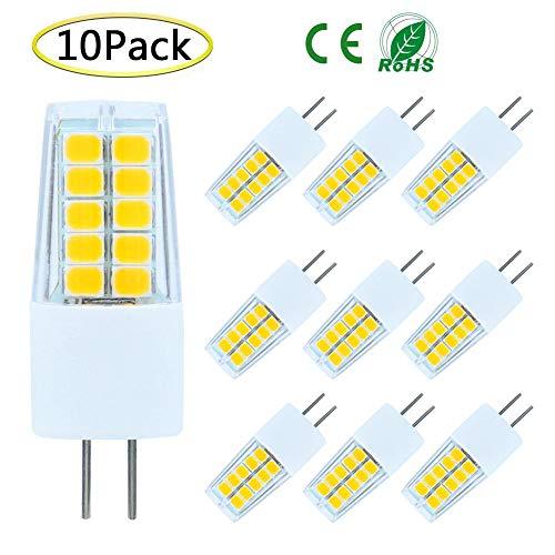 G4 LED Bulb Dimmable, AC/DC 12V 3Watt Bi-pin G4 Base Daylight White LED Light Bulb Lighting Equivalent 25W-30W T3 JC Type Halogen Track Bulb Lamps Replacement, Daylight White 6000K-6500K (10-Pack)