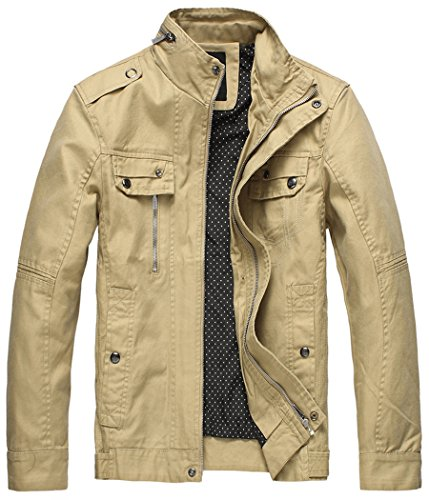 Wantdo Men's Cotton Stand Collar Lightweight Front Zip Jacket Khaki,US XXXL - Khaki Cotton Jacket