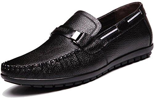CSDM nuovo cuoio genuino casuale che guida i pattini degli uomini uomini grandi di formato scarpe singole casuali , black , 44