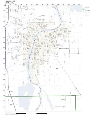Bay City Mi Zip Code Map.Amazon Com Zip Code Wall Map Of Bay City Mi Zip Code Map Laminated