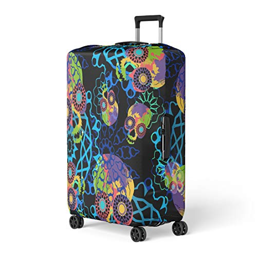 - Pinbeam Luggage Cover Colorful Psychedelic Multicolored Skulls Mandalas and Watercolor Effect Travel Suitcase Cover Protector Baggage Case Fits 18-22 inches