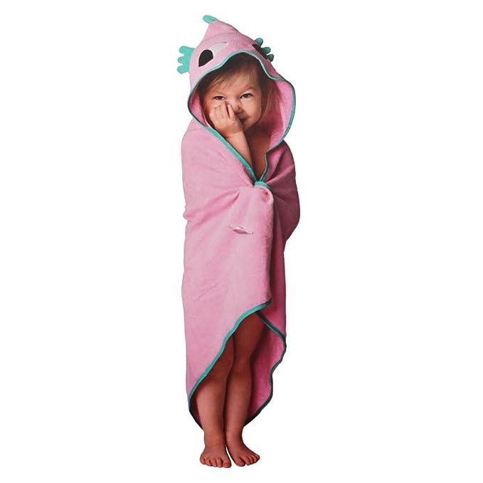 Runer - Toalla con capucha para bebé, 100% algodón, 75 x 75 cm, suave, acogedora, cómoda tela de rizo para peces planos, color rosa y verde rosa: Amazon.es: ...