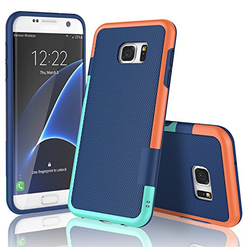 - Samsung Galaxy S7 Edge Case, TILL(TM) Ultra Slim 3 Color Hybrid Impact Shockproof Anti-slip Rugged Back Cover Soft TPU Hard PC Bumper Extra Front Raised Lip Case Cover for Galaxy S7 Edge G935 [Blue]