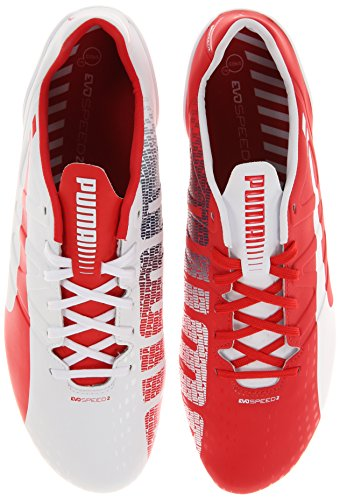 (PUMA Men's Evospeed 2.3 Firm Ground Soccer Shoe,White/High Risk Red/Empire Yellow/Estate Blue/Silver Metallic,9.5 M US)