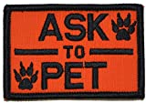 Ask to Pet, Service Dog Patch - 2x3 Morale Patch (Orange)
