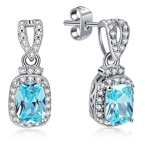 Caperci Sterling Silver Cushion-Cut Created Aquamarine Dangle Earrings with CZ Diamond Frame for Women