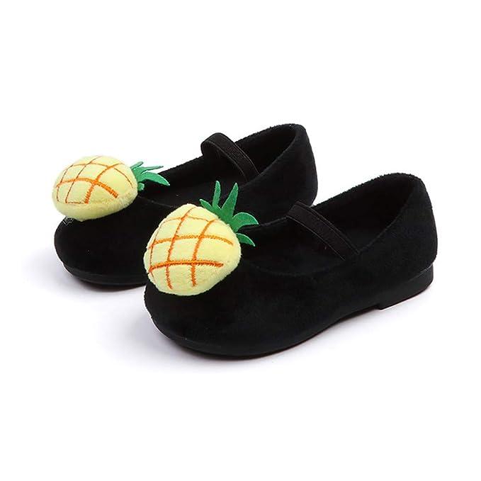 YanHoo Zapatos para niñas pequeñas Otoño e Invierno de los niños además de Terciopelo Fruta piña Zapatos de Princesa Dulce Zapatos Infantil Niñas Piña Dulce ...