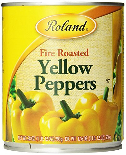 Yellow Roasted Peppers - Roland Fire Roasted Peppers, Yellow, 28 Ounce (Pack of 4) by Roland