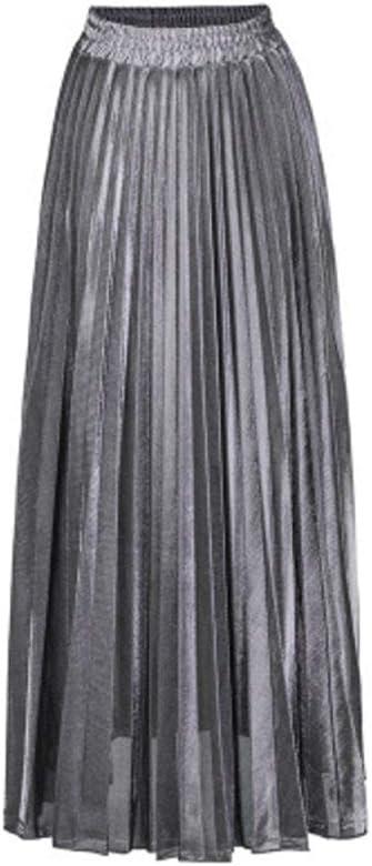 Falda Plisada Metalizada Falda De Playa De Cintura Alta para Mujer ...