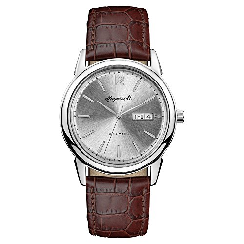 Ingersoll Men's Automatic Stainless Steel and Leather Casual Watch, Color:Brown (Model: I00501)
