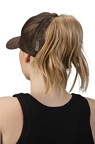 Accessories Cap Bronze (H-209-12 Messy Bun Ponytail Hat - Glitter (Bronze))