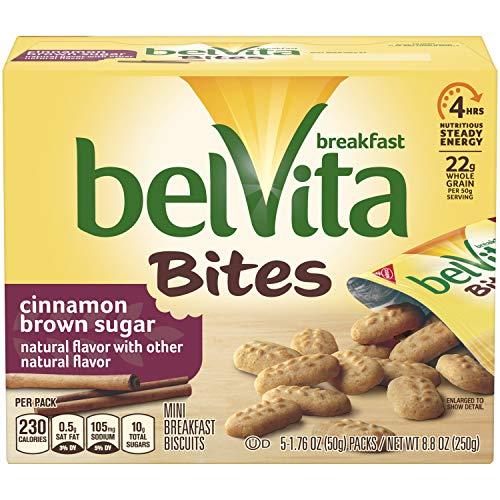 belVita Bites Cinnamon Brown Sugar Breakfast Biscuits, 5 Count Box, 8.8 Ounce (Pack of 6) ()