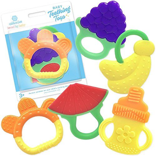 - Silicone Baby Teething Toys 5 Pack - BPA Free Natural Organic Freezer Safe Teether Sensory Toy for 3 to 12 Months Babies, Infant, Toddler